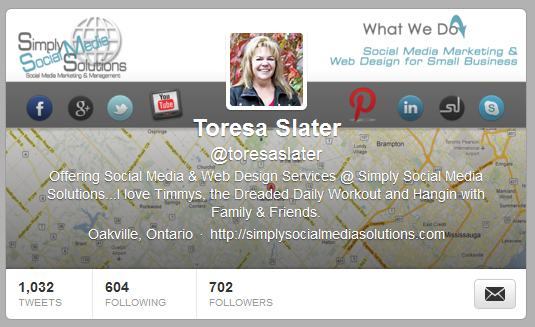 Toresa Slater for Simply Social Media Solutions on Twitter